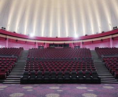 interior of cinema showing banked seating