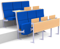 Apollo - fully upholstered seating with tip-up desking