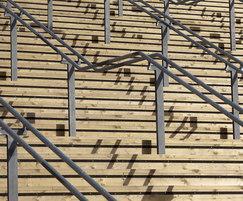 Contrast strip stair risers for T12 bridge, London 2012
