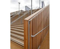 Stair treads and Siberian larch cladding, T12 bridge