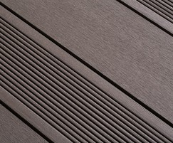 Brown composite decking - smooth and grooved