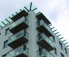 Glass and steel balconies