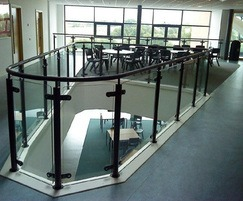Steel balustrade with glass infill panels