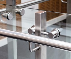 Stainless steel handrails and glass balustrade