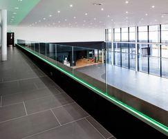 Bespoke balustrade with glass infill, Mercedes Dartford