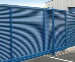 Italia-100 sliding gate and 2.3m high fence panels