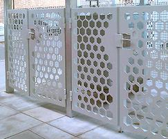 Bin store: Piazza-44 grating and laser-cut panels