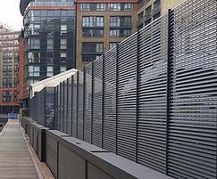 Italia-80 steel louvre fencing - Merchant Square