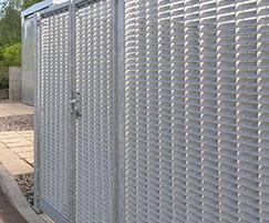 Wheelie-bin store using DeltaWing-90 louvre panels