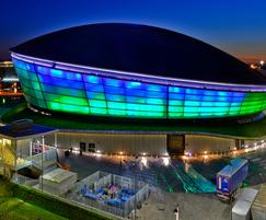 The illuminated facade of the SSE Hydro