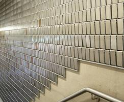 STEREO-KINETIC cladding decorating the stairwell