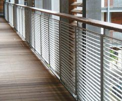 Micro-34 balustrade with wooden handrail - Benyon Wharf