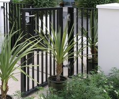 Complementary single leaf pedestrian gate