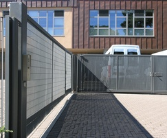 Italia-80V gates with vertical louvres