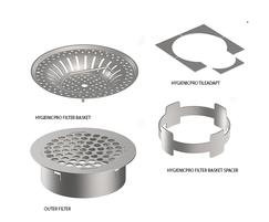Filter basket, spacer, outlet filter and tile adapter