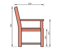 Traditional wooden seat dimensions