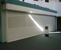 Electrically operated perforated lath roller shutters