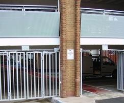 Bi-folding security entrance gates - car park