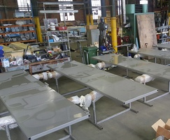 Bespoke folding security doors in production