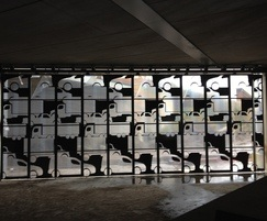Interior view through bespoke folding security doors