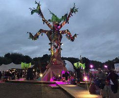 OSB3 used to build tree DJ booth at Glastonbury