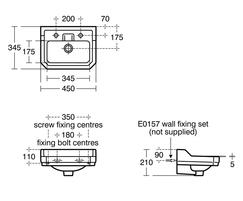 Waverley wash basin technical drawing