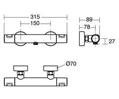 Ceratherm T25 shower mixer valve - dimensions