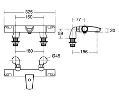 Ceratherm T50 exposed thermostatic bath shower mixer