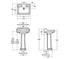 56cm Waverley washbasin U470101 details