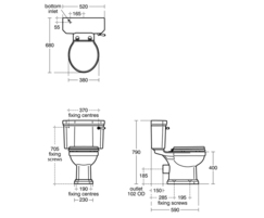 Waverley close coupled WC technical drawing