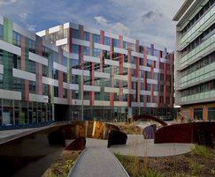 Walkway garden connecting the two university buildings