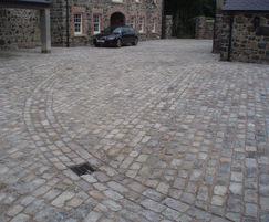 Reclaimed London granite setts, private driveway