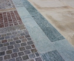 Setts, greenschist edging and Yorkstone paving