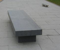 Granite bench and paving for skatepark