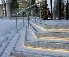 Silver grey granite steps, LED and basalt highlights