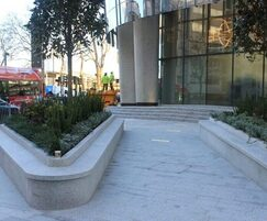 Silver grey granite feature planters with seating