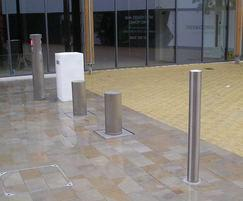 Automatic rising and static bollard and traffic lights