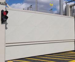 PAS68 Terra Sliding Cantilevered Gate with sheet infill