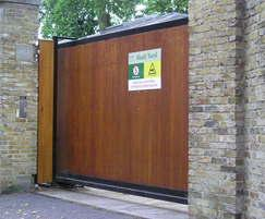 Sliding Gate with wooden infill