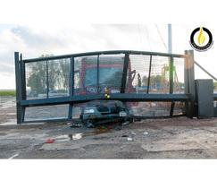 IWA 14 Terra G8 sliding cantilevered gate post impact