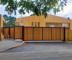 LoTracker Sliding Gates with wooden infill