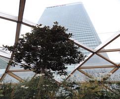 Semi open roof structure of garden