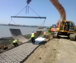 Reinforcement of banks for lake construction