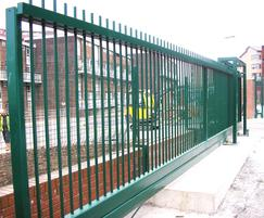 Green cantilever balustrade gate at a hospital