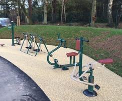 Surface around outdoor gym equipment