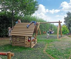 Playhouse and nest swing