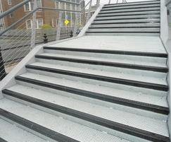 Galvanised stairs with polyester powder coated nosing