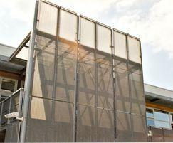 Louvred screen fencing, Shoeburyness High School, Essex