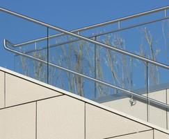 Stainless steel handrails, Woolwich Central, London