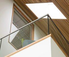 Balcony handrail B20 system, with stainless steel posts